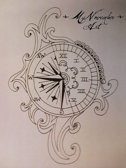 Compass clock tattoo I want something like this but saying something to the effect of be the one to guide me,i run on your clock.
