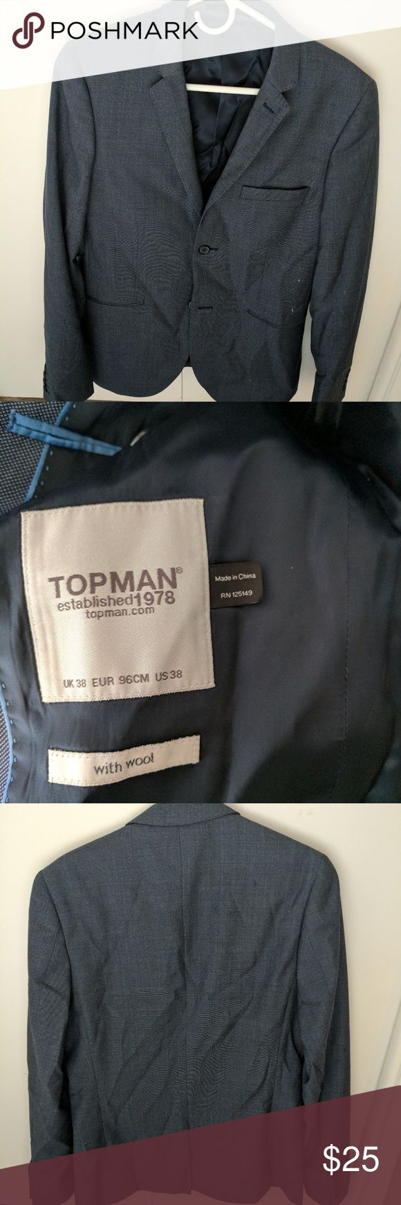 Sportcoat in blue Double button men's wool dinner jacket from topman. Good condition, may need to be washed. Men's size 38 Topman Jackets & Coats