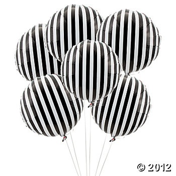 Black Striped Mylar Balloons, Mylar Balloons, Balloons & Streamers, Party Themes & Events - Oriental Trading
