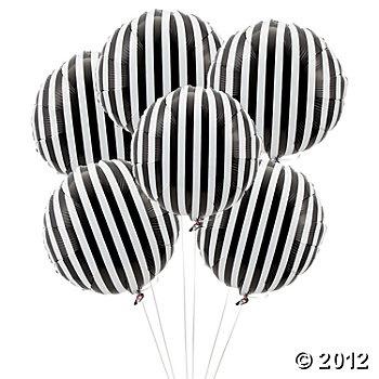 Black Striped Mylar Balloons | Oriental Trading Company
