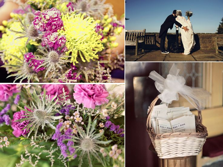 yellow and lavender country weddings | Vibrant pink, yellow, purple wedding flowers and simple white wedding ...