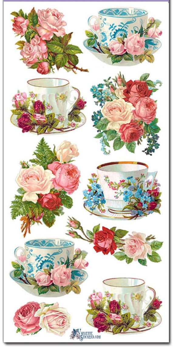 Stickers-Teacups & Roses-Decoupage-Collage-Mixed