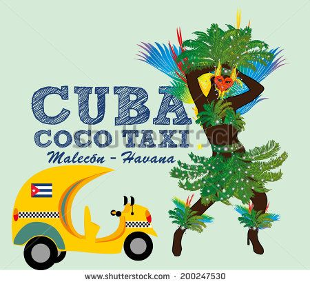 brazilian carnival girls with cuba coco taxi - stock vector
