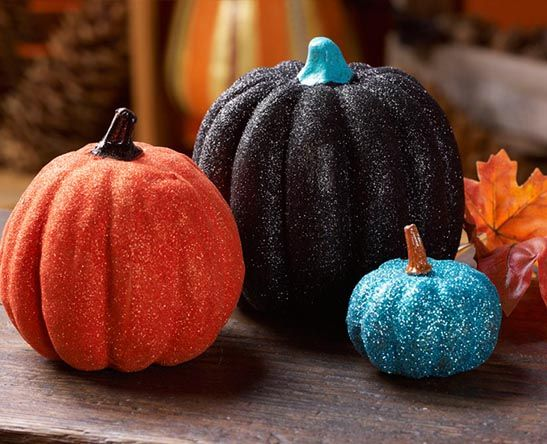 Easy Glittered Pumpkins; 75+ No Carve DIY Halloween Pumpkin Decorating Ideas:  The Ultimate