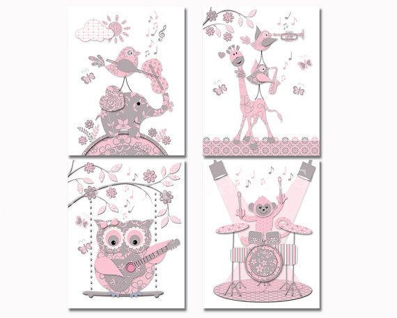 pink grey music nursery art baby girl room wall decor toddler artwork shower decoration gift elephant owl giraffe guitar violin drums poster #pinkandgraynursery