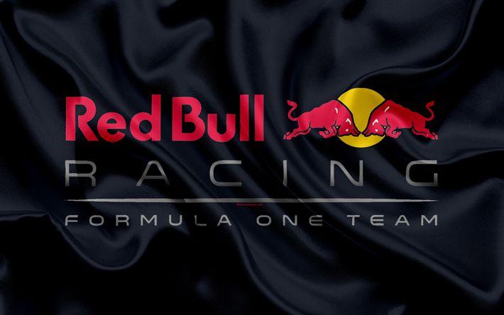 Download wallpapers Red Bull Racing, Formula One Team, new logo, 4k, racing team, Formula 1, logo, F1, red silk flag, motor sport, Austrian racing team