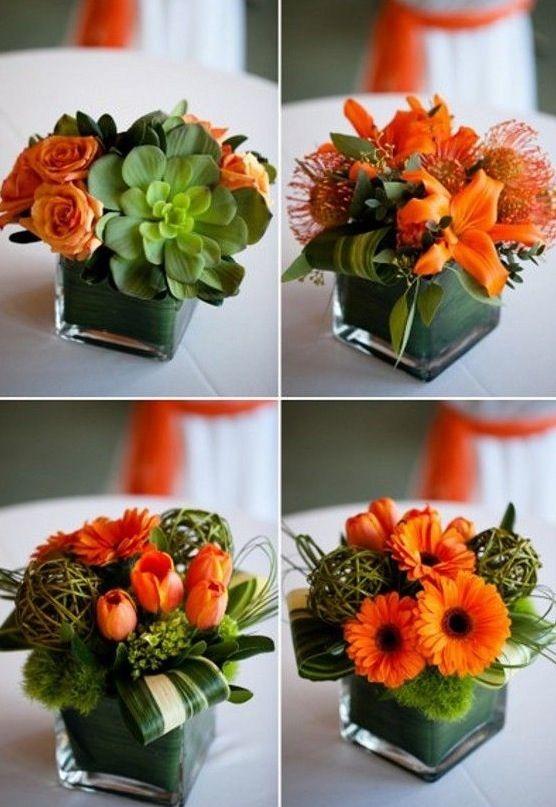 Davvero belli questi piccoli centrotavola con fiori verde e arancio. Acquistate da ikea questi vasi : Forniteli direttamente voi…