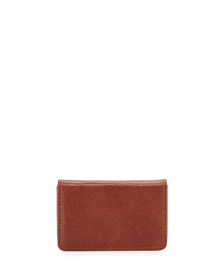Neiman Marcus Leather Card Case, Brown, Men's