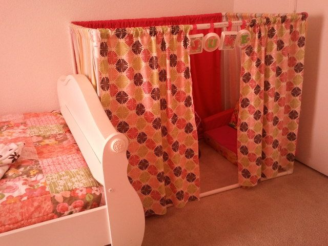 PVC pipe and fabric from Hobby Lobby make great play tent! June loves it!