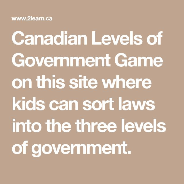 Canadian Levels of Government Game on this site where kids can sort laws into the three levels of government.