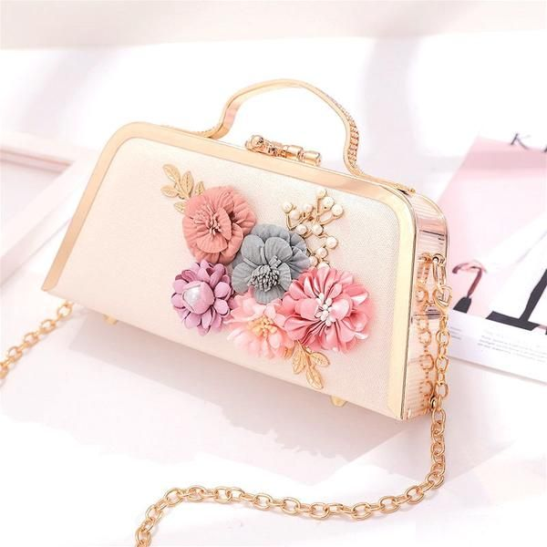 Clutch Bag Hand Floral Wedding Strap Faux Leather Rose Chain Handmade Pouch