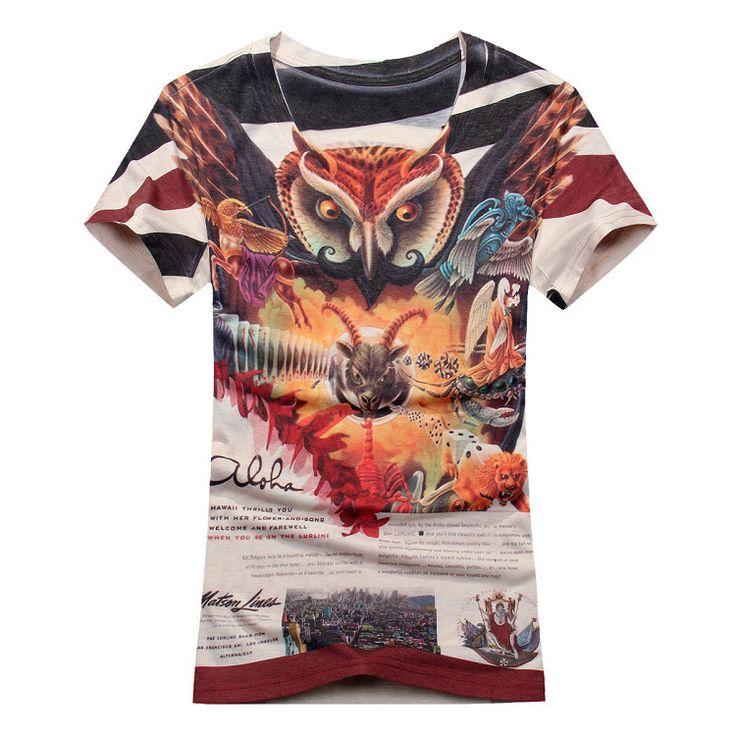 100% cotton Mens T-Shirt the night owl Print T Shirt Mens Short Sleeve V-neck Shirt night owl shirts 8052 #camiseta #realidadaumentada #ideas #regalo