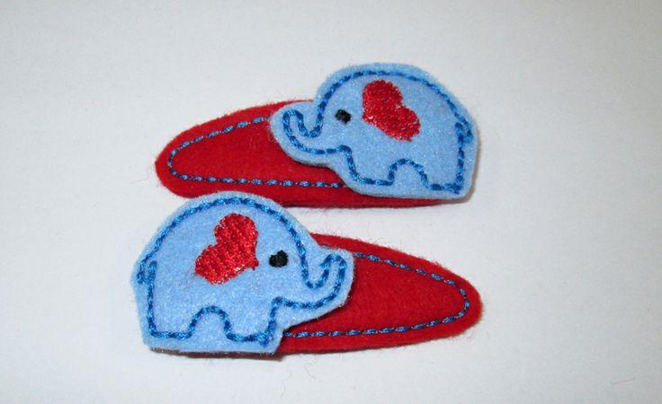 love it - Haarspangen für Kinder,Elefant, Herz von 1001erdbeere auf DaWanda.com