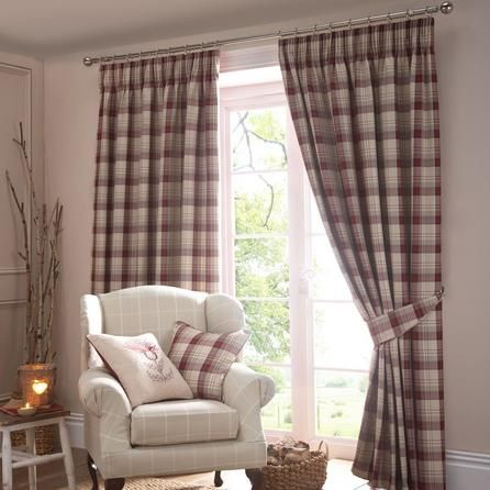 Dunelm Check Traditional Red and Brown Balmoral Pencil Pleat Curtains (W 228cm (90'') x Drop 182cm (72''))