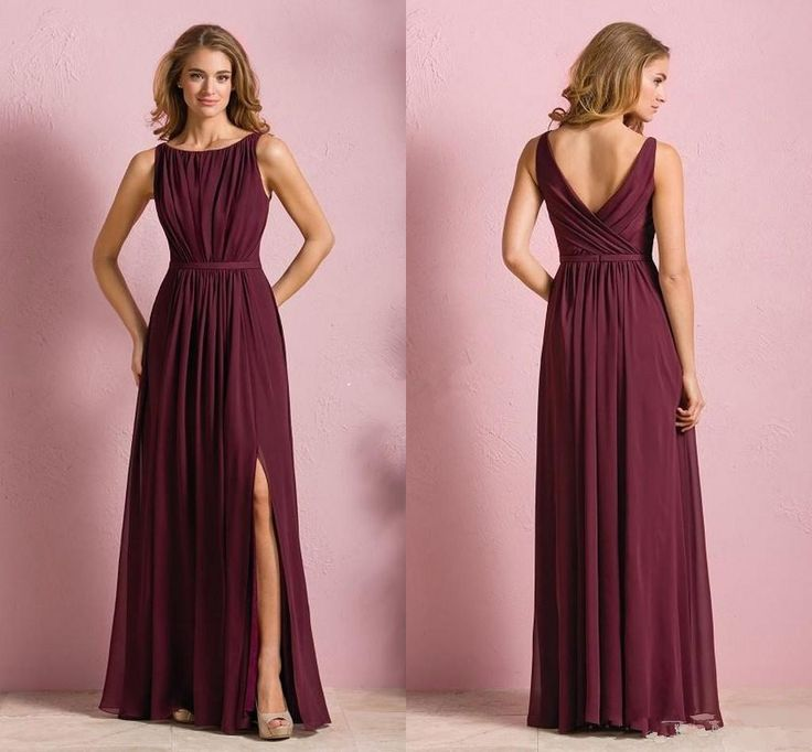 Elegant Cheap Burgundy Chiffon Long Beach Bridesmaid Dresses 2016 Wedding Party Wear For Women Maid of Honor Gown Sale With Maxi Slit Skirt