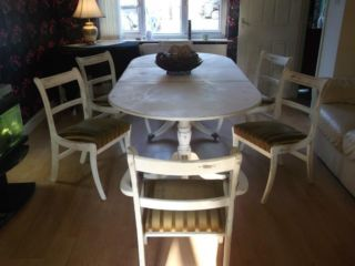 TABLE AND 6 CHAIRS New Ferry, beautifully hand restored shabby chic