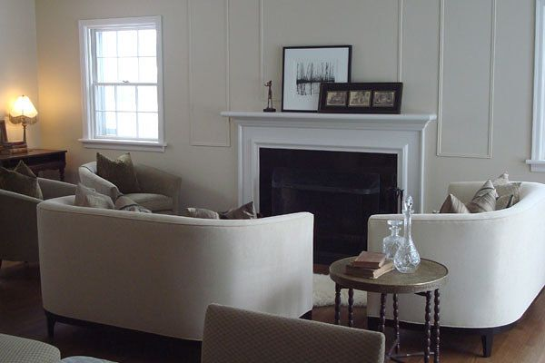 Living room space designed by Glen & Jamie from Peloso Alexander Interiors. #fireplace #sofa #table #design