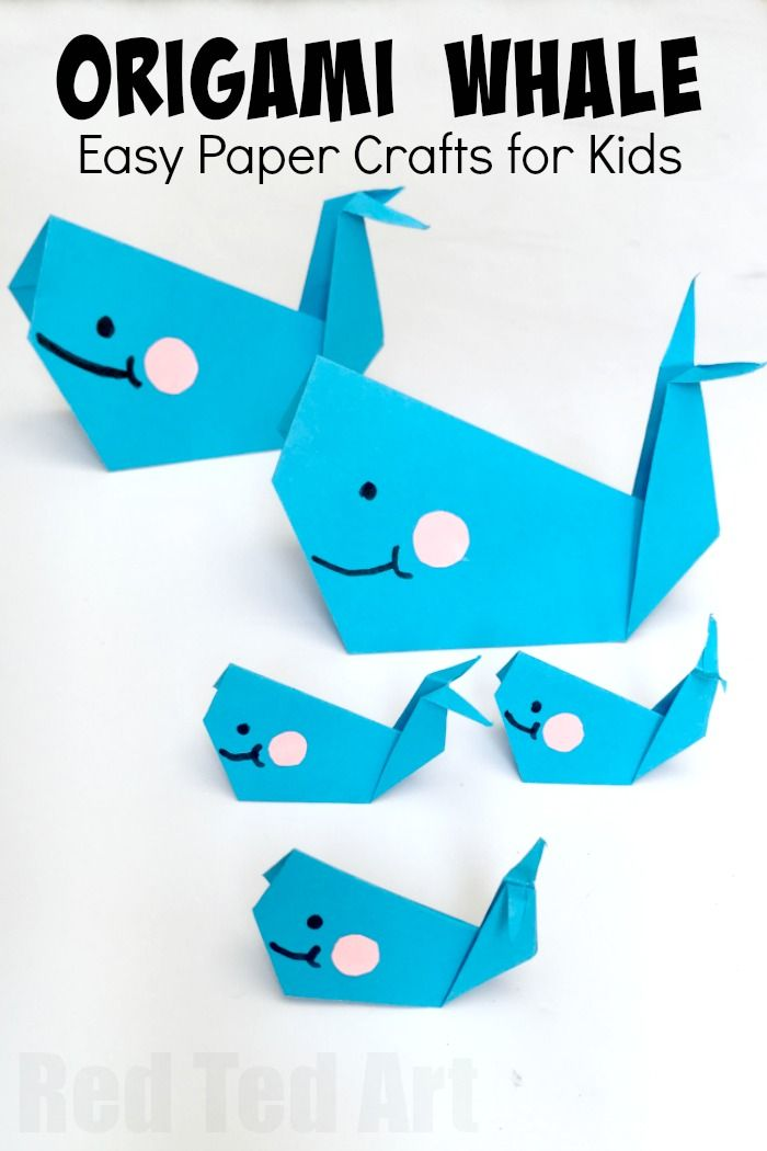 Easy Origam Whale for Kids. Super cute, fun and easy whale - a great paper craft for beginner origami kids. How to make an origami whale - Red Ted Art's Blog