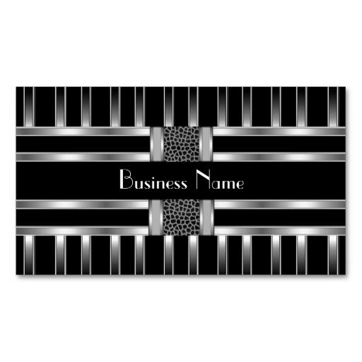 Business Card Black White Silver Stripe