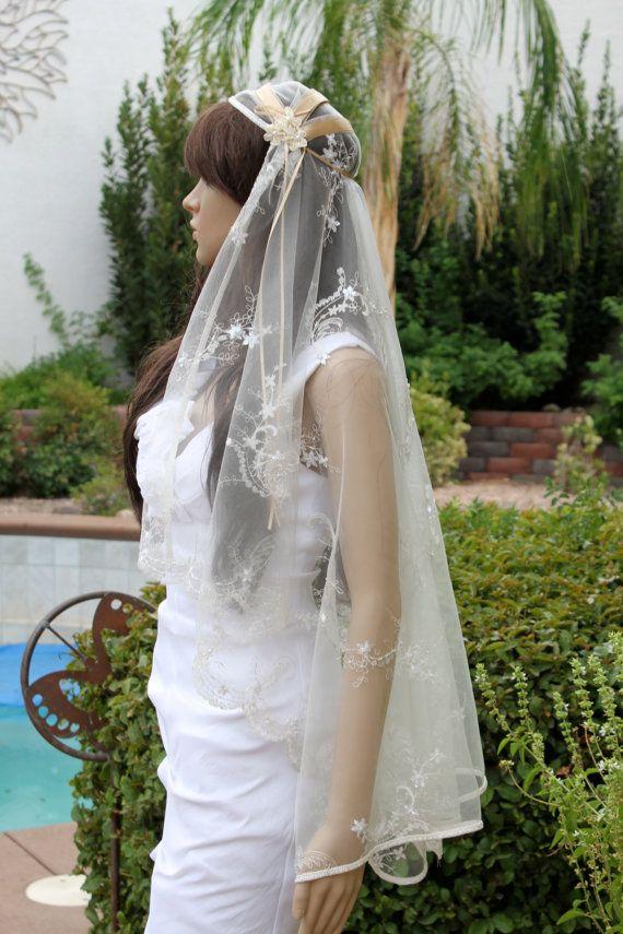 Champagne and Ivory Lace Bridal Cap Veil Custom by LasVegasVeils, $165.00