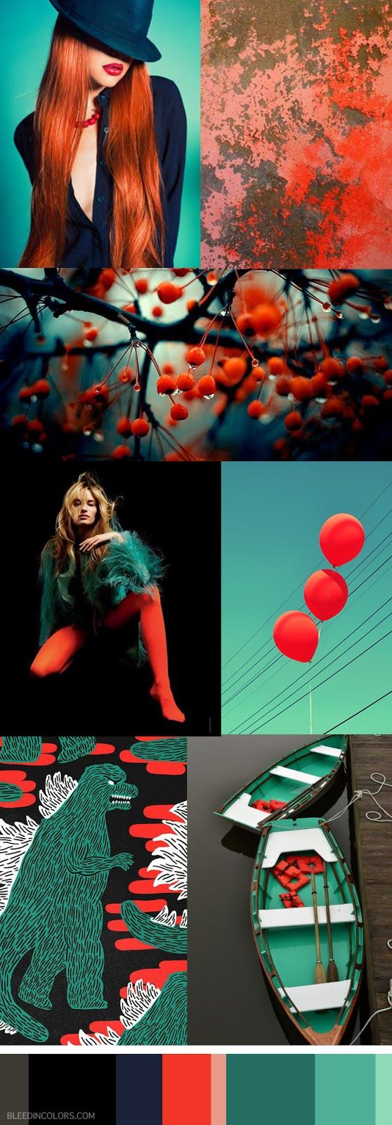 Color Palette // Bleed in Colors. All images are linked to their sources on the…