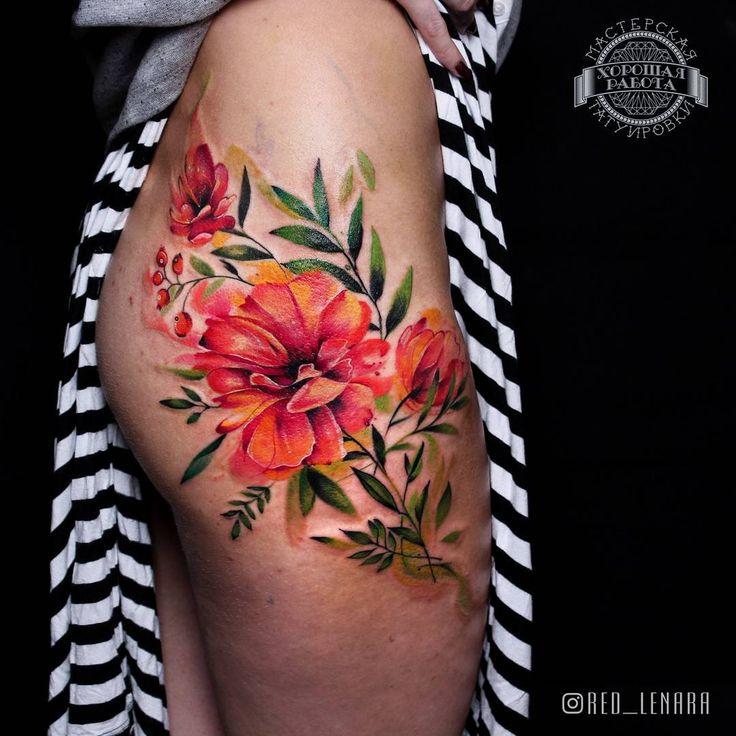 Gorgeous watercolor floral piece that wraps the hip