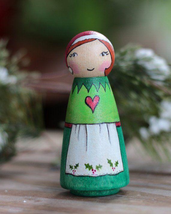 Christmas Elf Lady Peg Doll Christmas Mixed Media Art Doll Craft
