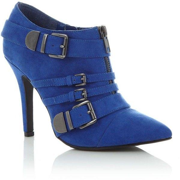 Kelly Brook Blue Buckle Heel Shoe Boots