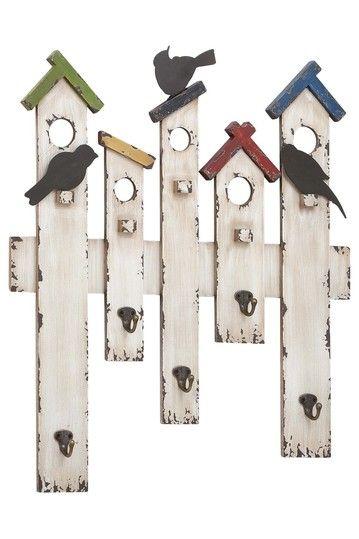 Wood Metal Wall Hook - cute for a mudroom or girls bedroom