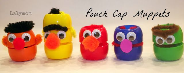 Swap idea. Just add a pin. I have them somewhere in the house from work. Sesame Street Pouch Cap Figures from Lalymom.