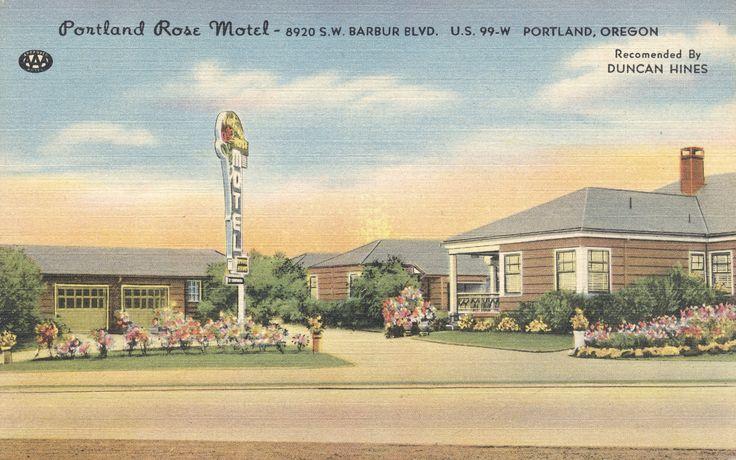 https://flic.kr/p/LRxrrr   Portland Rose Motel - Portland, Oregon   8920 SW Barbur Blvd. (U.S. 99-W) 10 Minutes from City Center Portland 1, Oregon 24 units. Steam heat - radios - tile shower - private garages - kitchenettes.  A Colourpicture Publication K1203