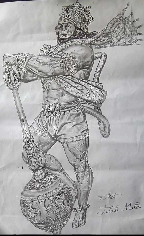 Drawing of veera Hanuman , art by Tilak Malla Thakuri ...