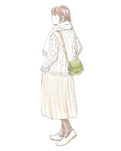カーデ+ワンピでほっこりかわいい。冬のお散歩スタイルに。カーキのポシェットをお供に。
