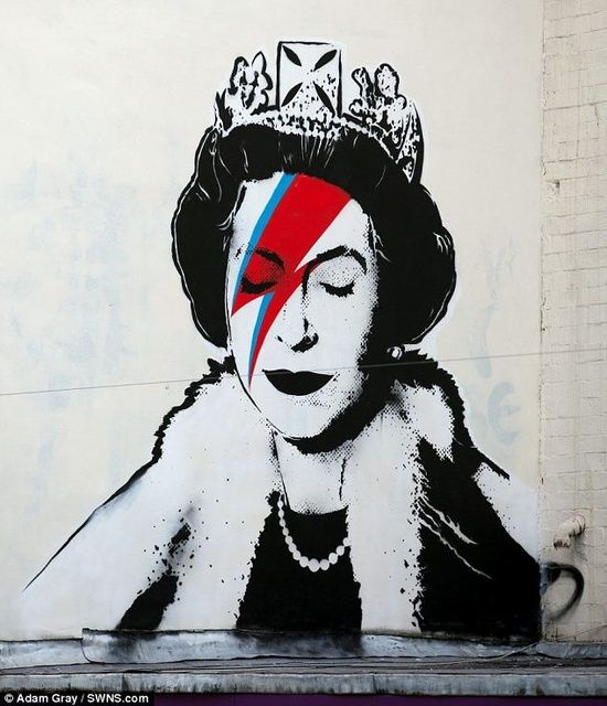 #Banksy creates unique Jubilee tribute of the Queen as David Bowie's Aladdin Sane