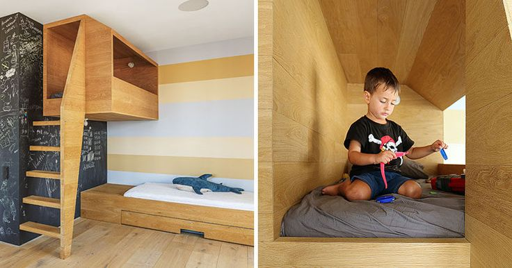 In this kids bedroom, there's a 'nest', an elevated wooden box or cubby that looks out over the rest of the bedroom and gives the children a quiet place to play.
