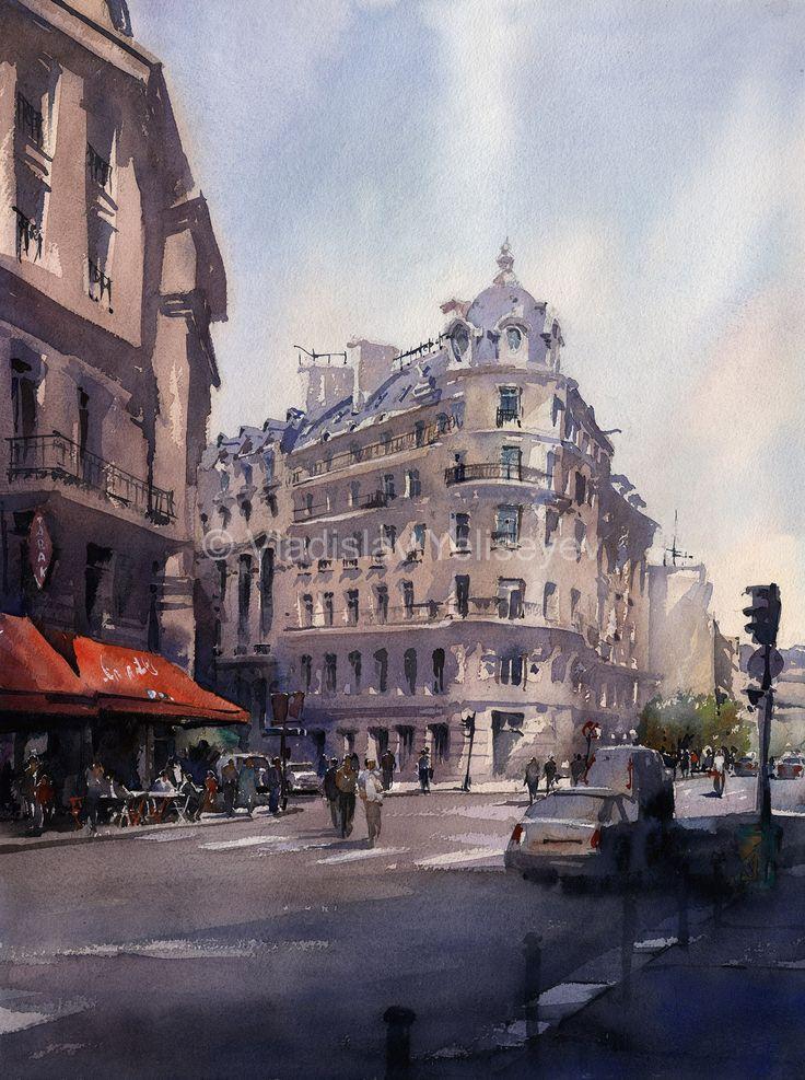 Urban Paintings Watercolor Artworks by artist Vladislav Yeliseyev | Vladislav Yeliseyev Architectural Illustration