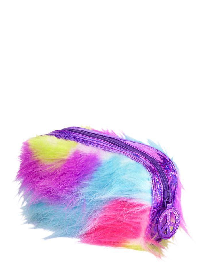 monster fur rainbow pencil case