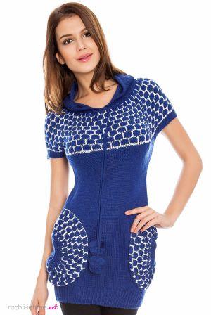 Rochie tricotata de culoare albastru-royal, cu gluga si buzunare - Rochie tricotata de culoare albastru-royal, cu gluga si buzunaremari si rotunde in fata. Are maneca scurta si este potrivita tinutelor de toamna-iarna. Colectia Rochii de toamna iarna de la  www.rochii-ieftine.net