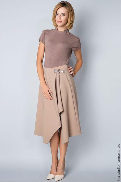 Купить Юбка с запахом - бледно-розовый, однотонный, юбка, юбка миди, юбка с запАхом
