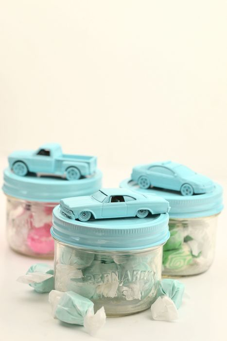 Learn how to make DIY Car Jars to hold treats for wedding or party favors. Also perfect for a baby shower!