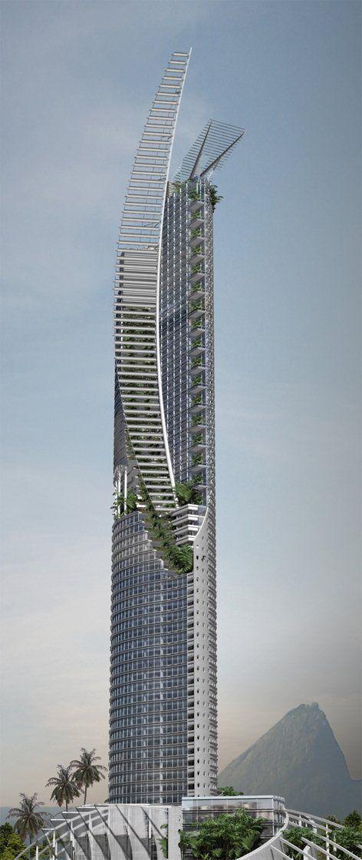 Veleiro do Sul Skyscraper Symbolism as a response to context Rio de Janeiro / Brazil #futuristicarchitecture