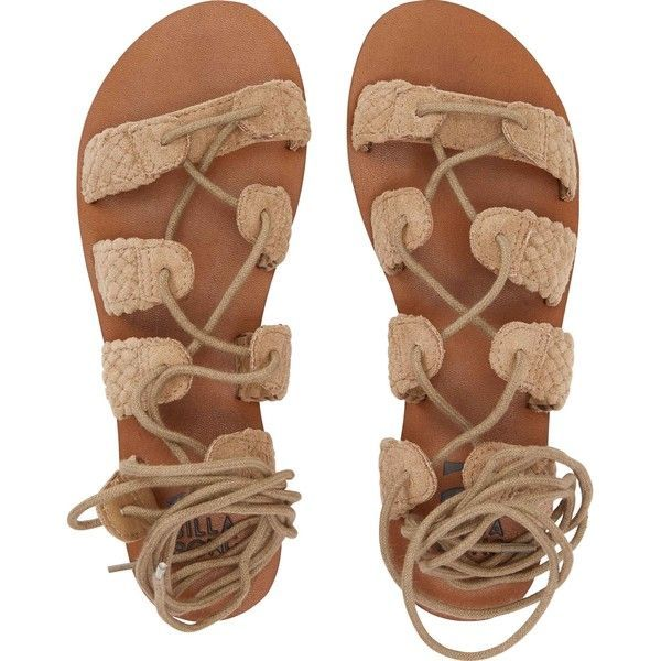 Beach Bandit Sandal ($50) ❤ liked on Polyvore featuring shoes, sandals, billabong sandals, faux leather sandals, braided sandals, beach sandals and woven sandals #beachsandals