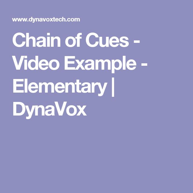 Chain of Cues - Video Example - Elementary   DynaVox