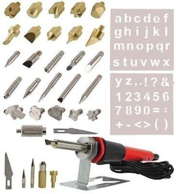 This combo contains one set of 7 pc 7 3/4 ' Wood Burning Pen Set with 6 Extra Tips  one set of 28pc Wood Working & Soldering Tips Set with Stencils...