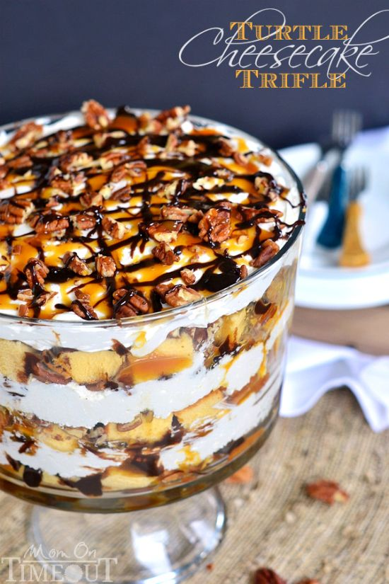 Turtle Cheesecake Trifle - Layers of caramel, chocolate, pecans, no bake cheesecake, and pound cake! | MomOnTime.com #PoundCakeDay