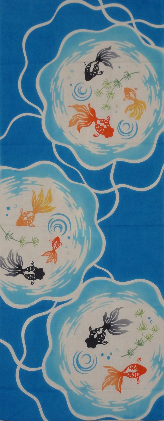 Tenugui Japanese Fabric 'Goldfish Bowls' Motif by kyotocollection