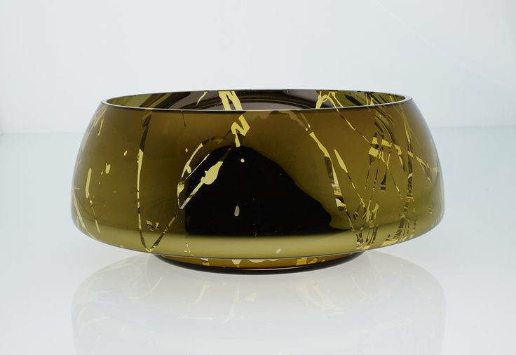 """an&angel"" DECCO JAZZ  collection GRAND SPLASHED AMBER BOWL"