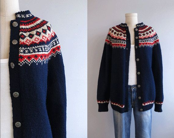 Vintage Nordic Wool Fair Isle Cardigan / 1960s Hand Knit Sweater Navy Red Cream. $88.00, via Etsy.