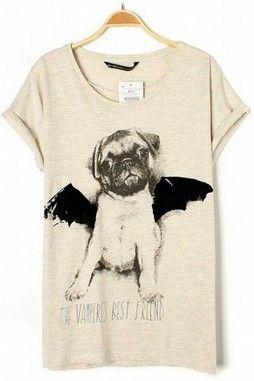 GrabMyLook Beige Black Bat Wing Dog Round Neck Cotton T-Shirt