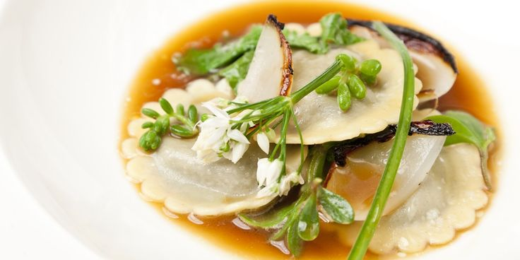 The welsh delicacy of laverbread is used to fill homemade ravioli in this evocatively Welsh dish from Alyn Williams
